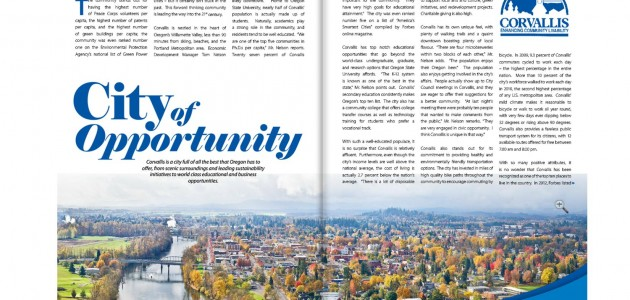 """City of Opportunity"" Corvallis Business In Focus Magazine Article"